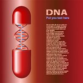 DNA molecule in pill. Text on image only sample and  have not sense, generate special program