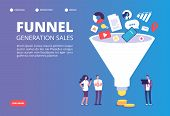 Funnel Sale Generation. Digital Marketing Funnel Lead Generations With Buyers. Strategy, Conversion  poster