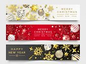 Three Christmas Horizontal Banners With Shining Snowflakes, Ribbons, Stars And Colorful Balls. New Y poster
