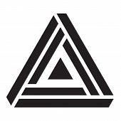 Penrose Triangle, Illusion Triangle Vector Illustration, Logo Design Element poster