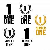 Number One Retro Labels. Set Of One Number Logo. First Place Badge poster