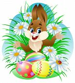 stock photo of easter bunnies  - Easter bunny with colorful eggs in grass - JPG