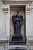stock photo of laxmi  - Black stone idol of  goddess Laxmi or Lakshmi in the murudeshwar temple  - JPG