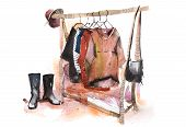 Shopping Mall Store Clothes Exhibition Clothing Display Garment Rack Watercolor poster