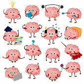 Brain Emotion Vector Cartoon Brainy Character Expression Emoticon And Intelligence Emoji Studying Il poster