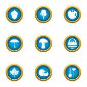 Rainy Day Icons Set. Flat Set Of 9 Rainy Day Vector Icons For Web Isolated On White Background poster