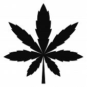 Cannabis Leaf Icon. Simple Illustration Of Cannabis Leaf Vector Icon For Web Design Isolated On Whit poster