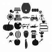 Private Farm Icons Set. Simple Set Of 25 Private Farm Vector Icons For Web Isolated On White Backgro poster