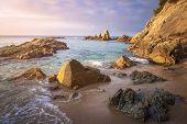 Idyllic Spanish Beach Landscape On Sunrise. Amazing Beach. Perfect View On Sea. Seascape Of Sandy Be poster