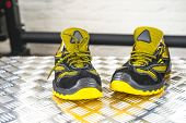 Unbranded Modern Sneaker In The Gym. Black-yellow. Comfortable Shoes. poster
