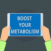 Text Sign Showing Boost Your Metabolism. Conceptual Photo Increase The Efficiency In Burning Body Fa poster