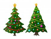 Christmas Tree Decorated With Colorful Balls, Garland Lights, Golden Star. Spruce, Evergreen Tree. G poster