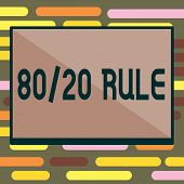 Text Sign Showing 80 20 Rule. Conceptual Photo Pareto Principle 80 Percent Effects Come From 20 Caus poster