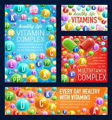Vitamin Pills, Healthy Life Or Pharmacy Vecotr. Multivitamin Complex Of A, B Or C And D O Pp Acids V poster