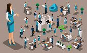 Isometric Set 6, Bank Icons With Bank Employees, Woman Bank Worker, Customer Service Manager. Financ poster