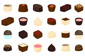 Beautiful Big Set Of Colorful Chocolate Desserts From Candies. Candy Consisting Of Milk Chocolate Co poster