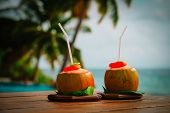 Coconut Drinks Served In Luxury Resort, Vacation At Beach poster
