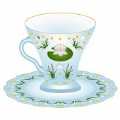 Porcelain Tea Asset - Tea Cup And Saucer. Ornate With Tender Colorful Pattern With Lily And Grass, T poster