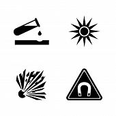 Danger, Attention, Hazard. Simple Related Vector Icons Set For Video, Mobile Apps, Web Sites, Print  poster