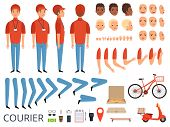 Pizza Delivery Animation. Fast Food Courier Body Parts With Professional Items Box Bike Vector Chara poster