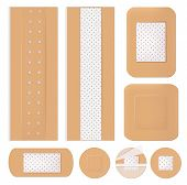 Medical Bandage. Plastering Shapes Adhesive Healthcare Medicine Plaster Antiseptic Vector Isolated.  poster