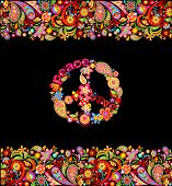 Fashion design with colorful floral summery seamless border and hippie peace symbol for shirt print  poster