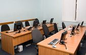 stock photo of business class  - Modern office or training center interior - JPG