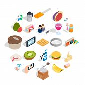 Sweet Food Icons Set. Isometric Set Of 25 Sweet Food Vector Icons For Web Isolated On White Backgrou poster