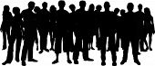 image of crowd  - Silhouette of a huge crowd of people - JPG