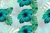 Tropical Pattern. Cyan, White, Blue Exotic Summer Flower Vector Background. Beauty Fasion Monstera,  poster