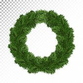 Vector Illustration Of Wreath Christmas Decoration . Round Large Coniferous Wreath. New Year.  Isola poster