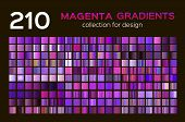 Mega Set Of 210 Magenta Metal Gradients. Magenta Backgrounds Collection, Metal Gradients, Swatches.  poster