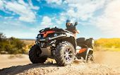 Summer offroad adventure on atv in sand quarry poster