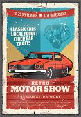 Retro Motor Show Vintage Poster With Classic Car. Old Car With Vehicle Engine Parts, Retro Motor Clu poster