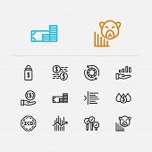 Finance Trading Icons Set. Broker And Finance Trading Icons With Invest Money, Margin And Dividend.  poster