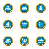 Recreation Water Icons Set. Flat Set Of 9 Recreation Water Vector Icons For Web Isolated On White Ba poster