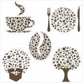 Restaurant Icons In Form Of  Tree, Coffee Grain, Cup, Box And Plate With Plug And  Spoon,  Isolated