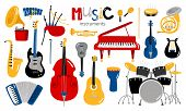Cartoon Musical Instruments. Music Instrument Vector Icons, Entertainment Instrumentation Collection poster