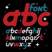 Set Of Vector Italic Lower Case Funky English Alphabet Letters Isolated, Can Be Used In Retro Poster poster