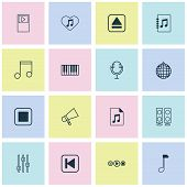 Music Icons Set With Audio File, Audio Buttons, Synthesizer And Other Piano Elements. Isolated  Illu poster