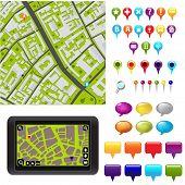 Постер, плакат: Карта города с GPS иконы векторные иллюстрации