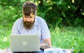 Inspiration For Blogging. Looking For Inspiration. Blogger Becoming Inspired By Nature. Man Bearded  poster