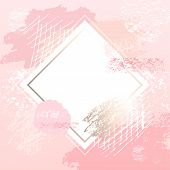 Golden Pink Art Frames. Modern Card Design, Brush Stroke, Gold, Premium Brochure, Flyer, Invitation  poster