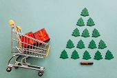 Conceptual Photo Of Christmas Sales Or Gift Shopping. Preparing For The New Year And Christmas. Buyi poster