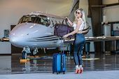 A beautiful blonde model walks away from her private jet as she heads out on her holiday poster