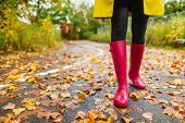 Autumn fall city lifestyle colorful leaves and red rain boots woman feet walking in park outside. poster