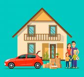 New House For Family.  Happy Family Isolated.things In The Box Next To The Trunk Of The Car. Moving  poster