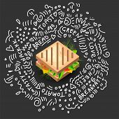 Grilled Sandwich Icon In Cartoon Style. Vector Isolated Illustration Of Nutritious Sandwich. Icon Of poster