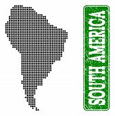 Dotted Map Of South America And Unclean Caption. Vector Green Title Inside Rounded Rectangle And Unc poster