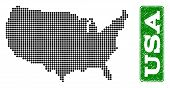 Dotted Map Of Usa And Scratched Caption. Vector Green Title Inside Rounded Rectangle And Scratched R poster